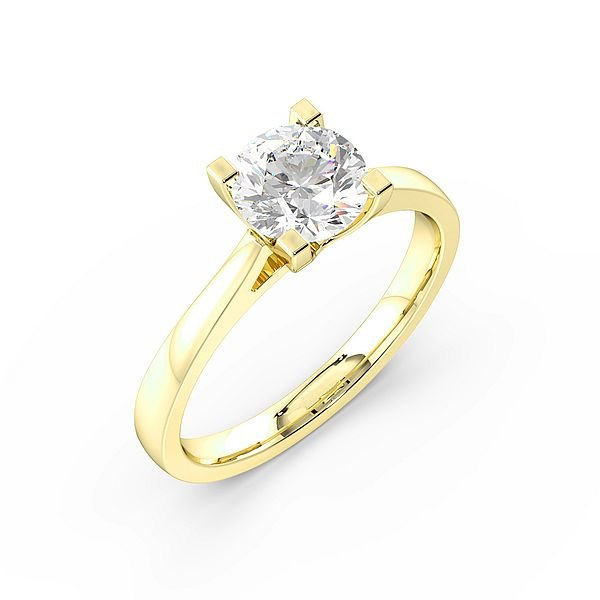 Round Cut Square Claws Solitaire Diamond Engagement Ring