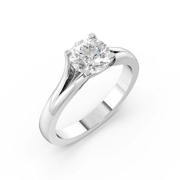 Split Shoulder Solitaire Diamond Engagement Ring