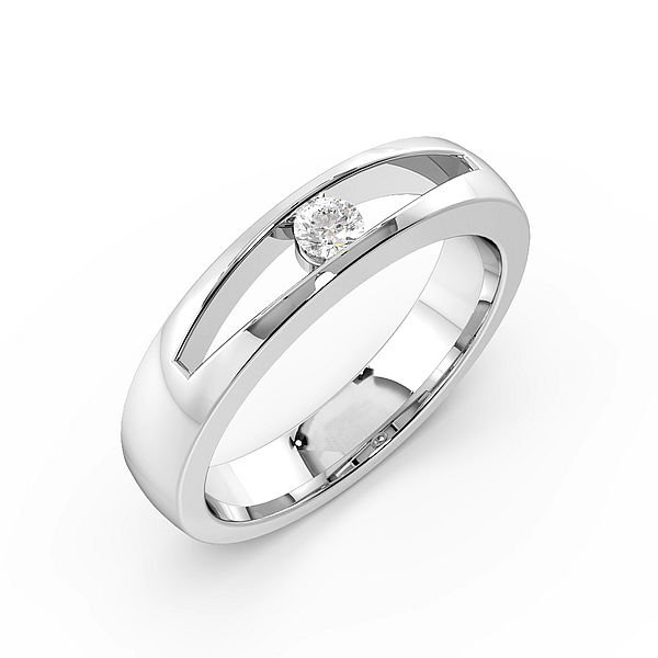 Round Channel Setting Open Diamond Wedding Rings