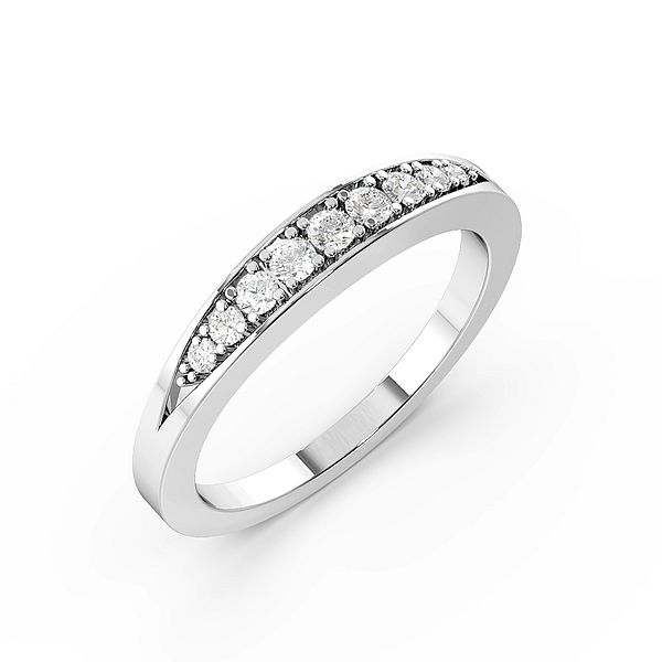 Round Pave Setting Tapering Down Womens Diamond Half Eternity Ring