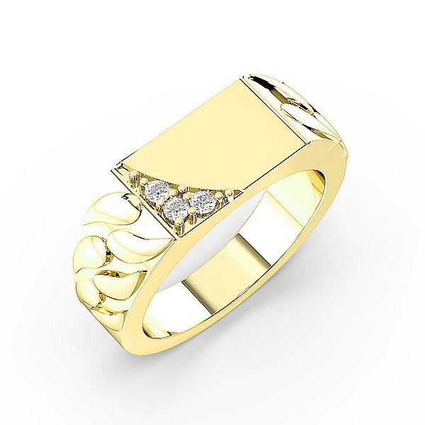 Round Corner Diamond Set Mens Ring (7.0mm)