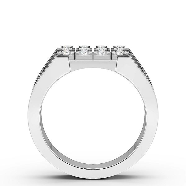 Round Three Raw Diamond Mens Ring (10mm)