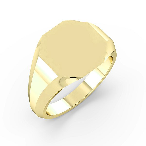 Octagen Shape Mens Signet Rings (13mm)