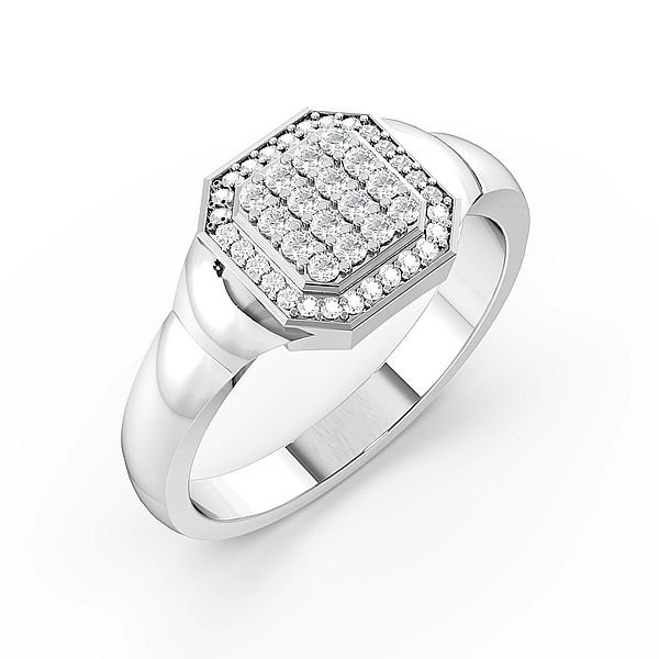 Round Cluster Diamond Mens Ring (10mm)