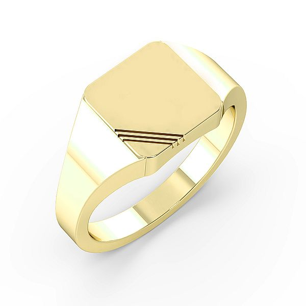 Square Line Cut Mens Signet Rings (10mm)