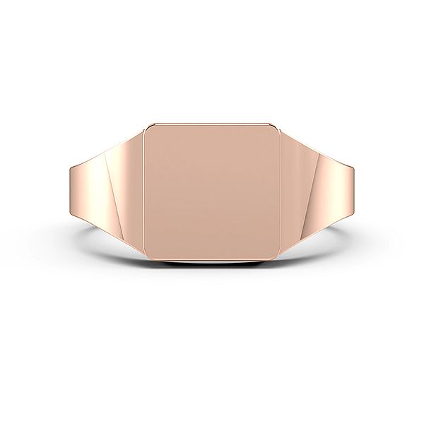 Smooth Corner Square Shape Mens Signet Rings (10mm)