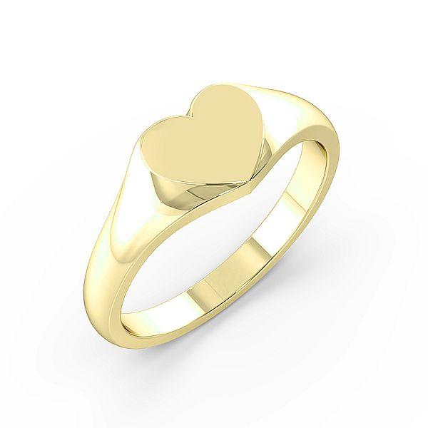 Heart Shape Womens Signet Rings (7.5mm)