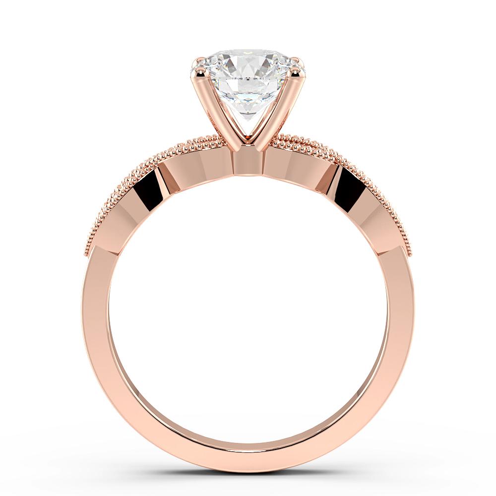 Cross Over Miligrain Shoulder Side Stone Diamond Engagement Rings