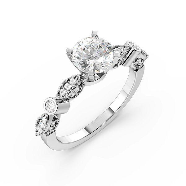 Vintage High Shoulder Side Stone Diamond Engagement Rings