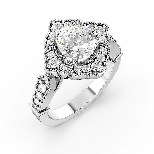 Round 4 Prong Designer Halo Diamond Engagement Rings