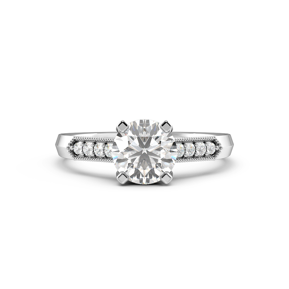 Round 4 Prong Miligrain Side Stone Diamond Engagement Rings