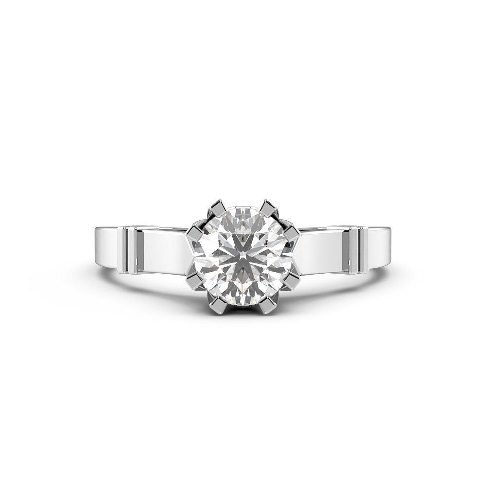 Round 8 Claws thick Shoulder Solitaire Diamond Engagement Rings