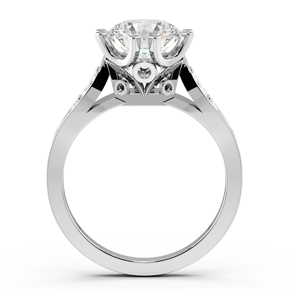 Round Unique 8 Claw Solitaire Diamond Engagement Rings