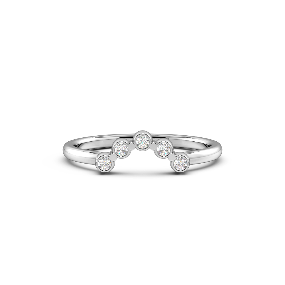 Round Bezel Setting Shaped Half Eternity Diamond Ring