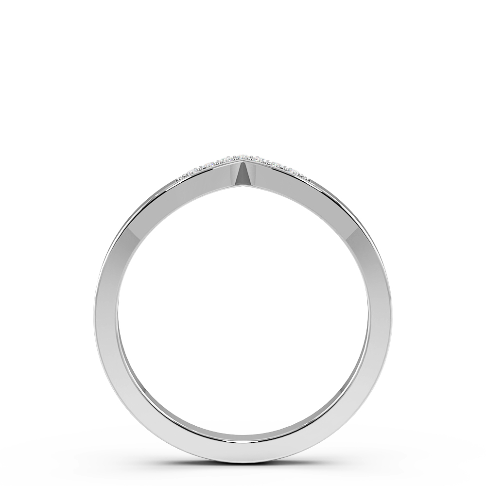 Pave Setting Wishbone Half Eternity Diamond Wedding Rings