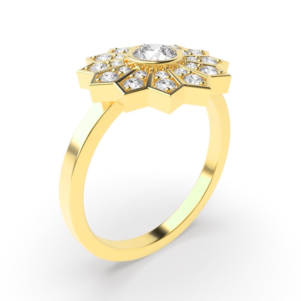 Round Bezel Setting Flower Style Halo Diamond Engagement Rings