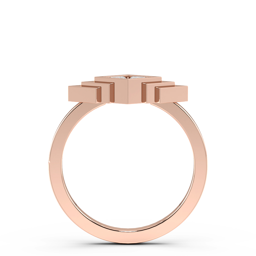 Trillion Bezel Setting Arrow Look Designer Diamond Ring