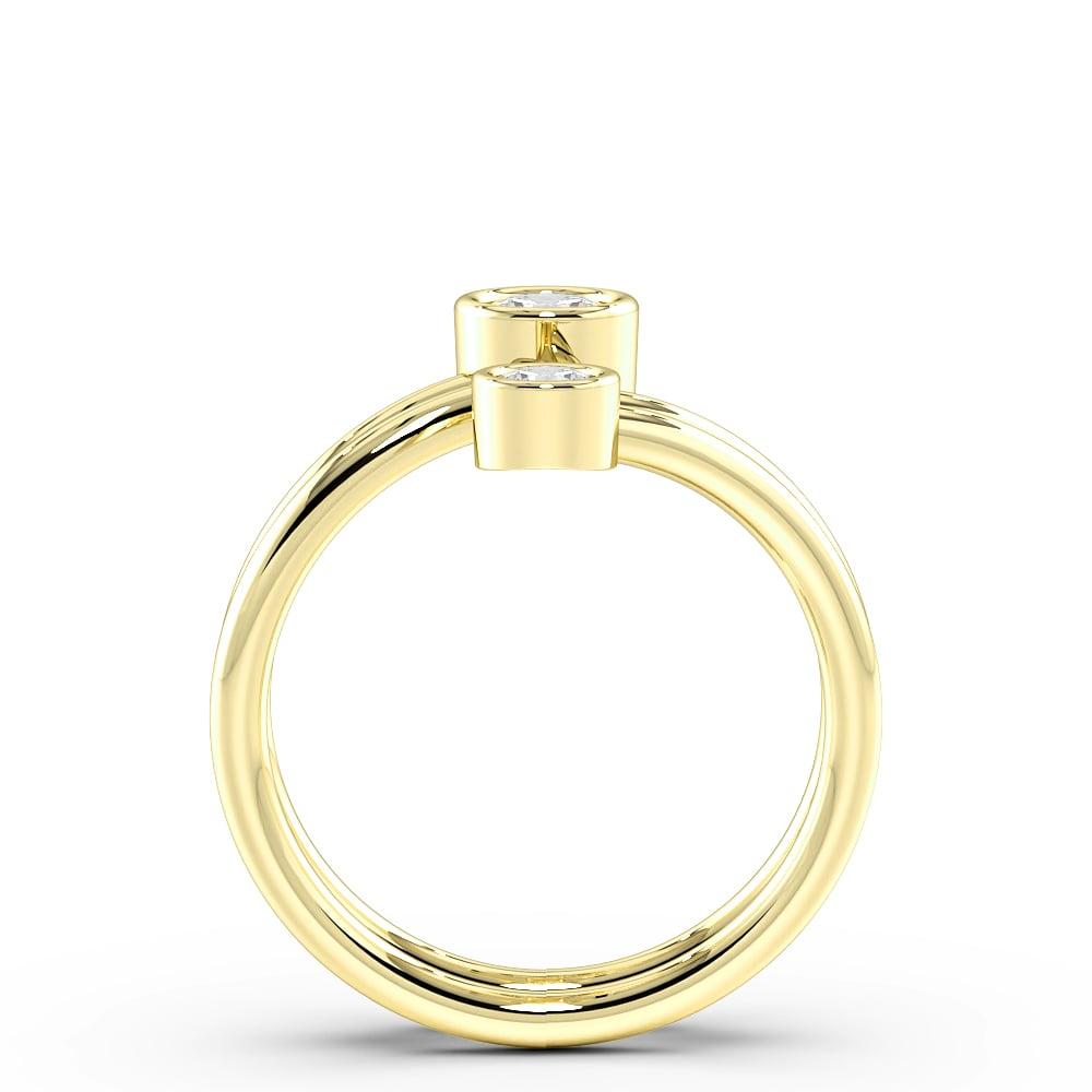 Round Bezel Setting Two Diamond Designer Diamond Ring