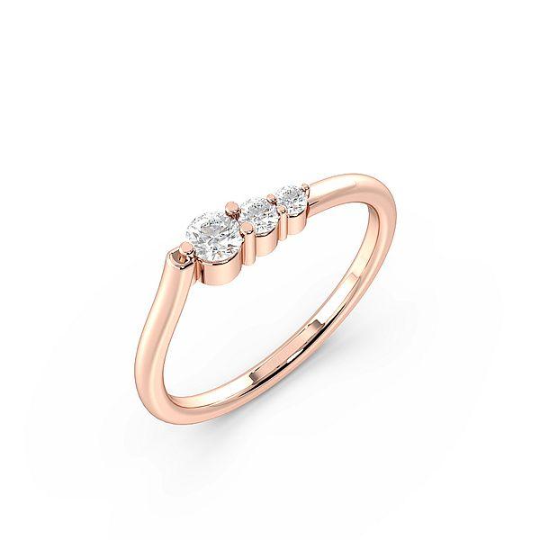 Round 4 Prong 3 Graduating Designer Diamond Ring