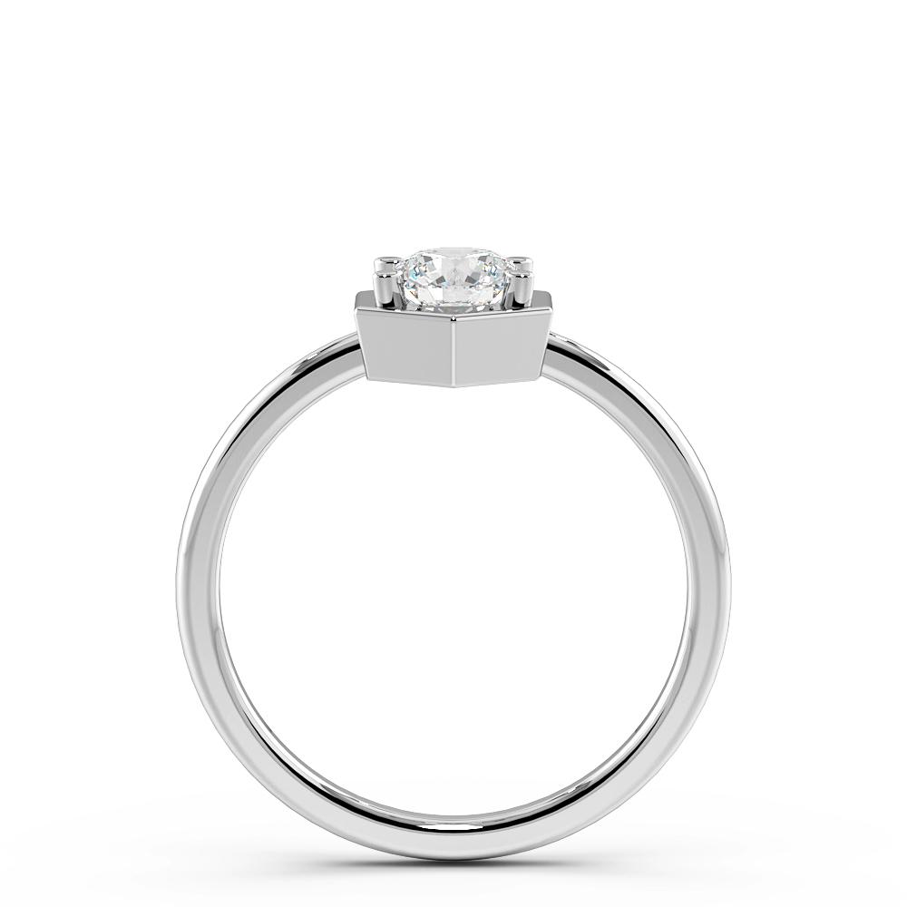 Octagan Shaped Minimalist Solitaire Diamond Engagement Rings