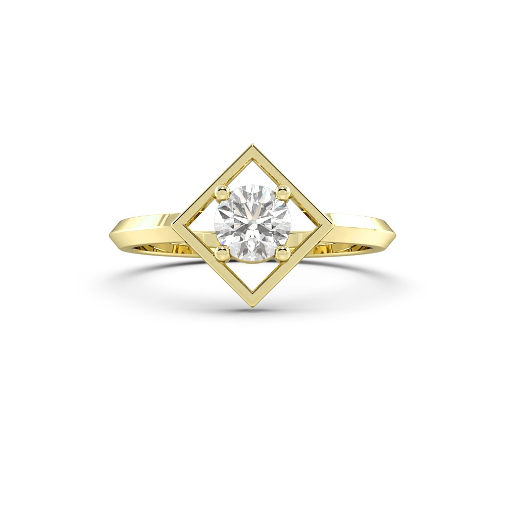 Open Square Minimalist Solitaire Diamond Engagement Rings