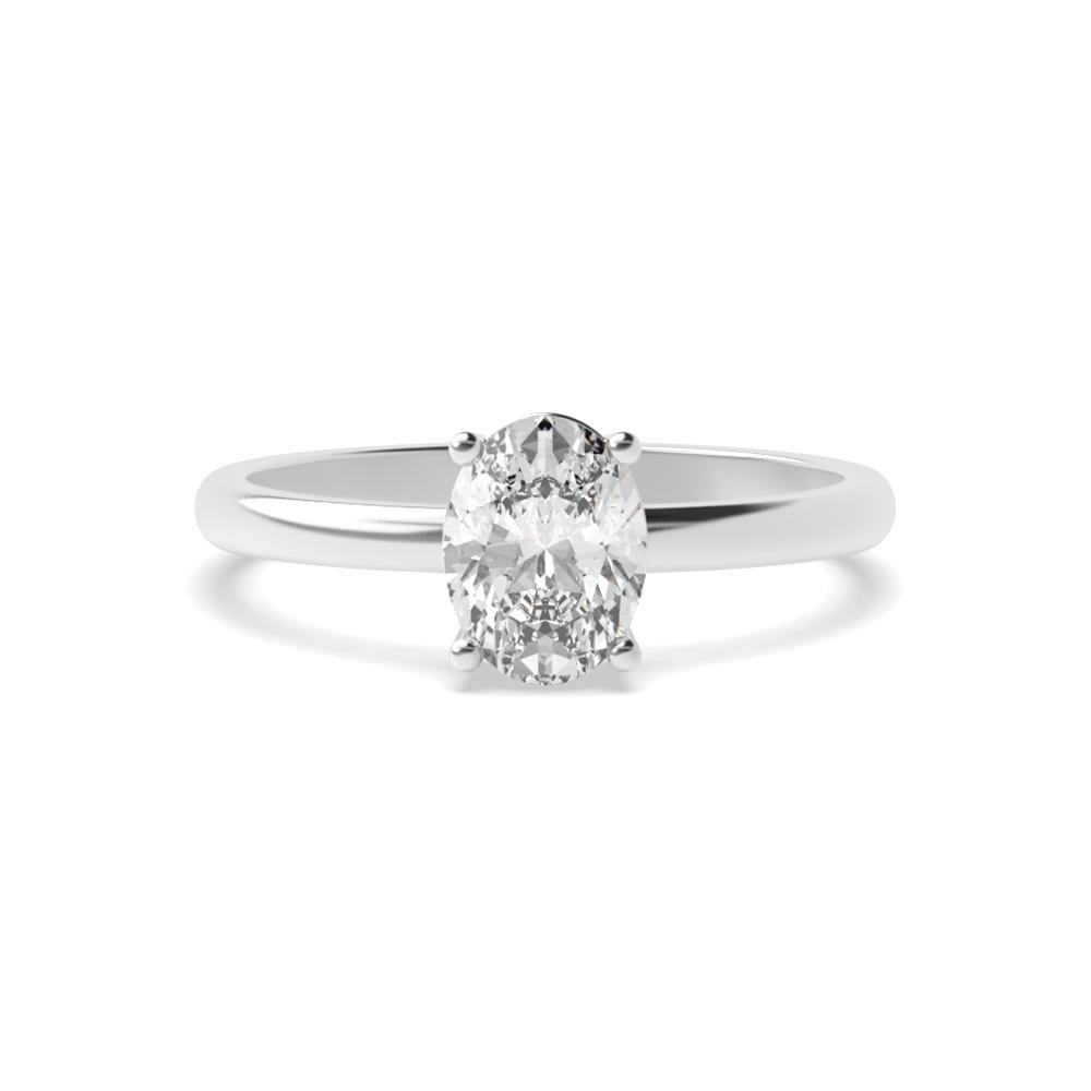 Horizontal Set Minimalist Solitaire Diamond Engagement Rings