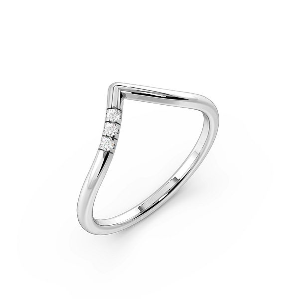 Pave Setting Wishbone Delicate Womens Diamond Wedding Rings