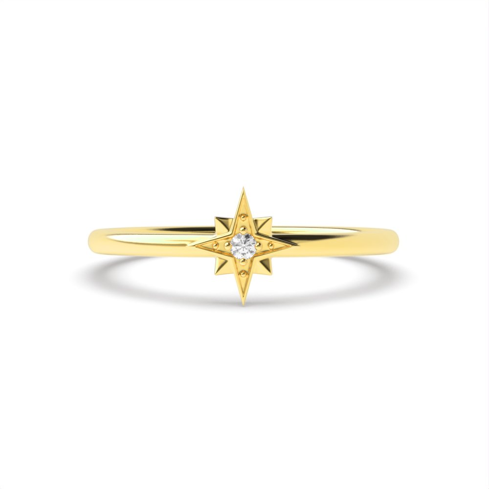 Star Look Minimalist Solitaire Diamond Engagement Rings