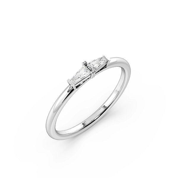 4 Prong Two Horizontal Baguette Designer Diamond Ring