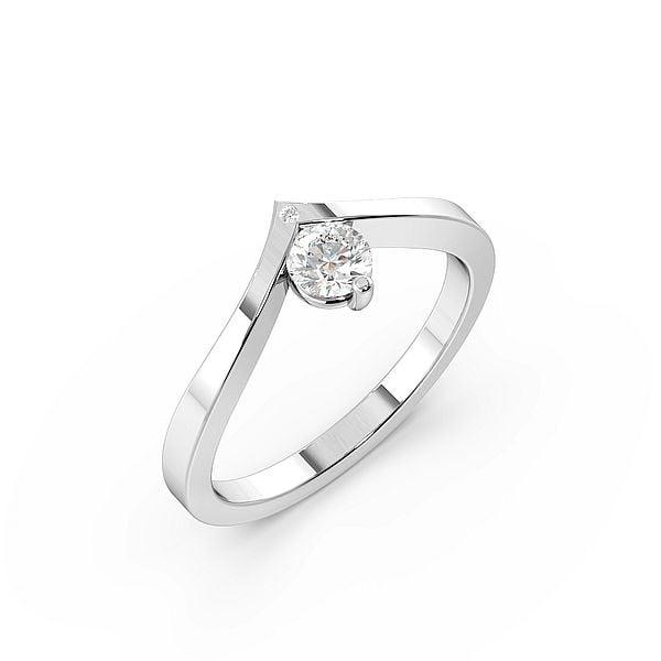 Delicate Wishbone Solitaire Diamond Engagement Rings