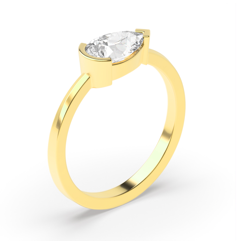 Vertical Pear Shape Solitaire Diamond Engagement Rings