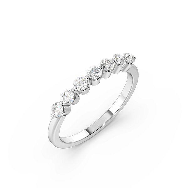 Round 2 Prongs Delicate Half Eternity Diamond Ring
