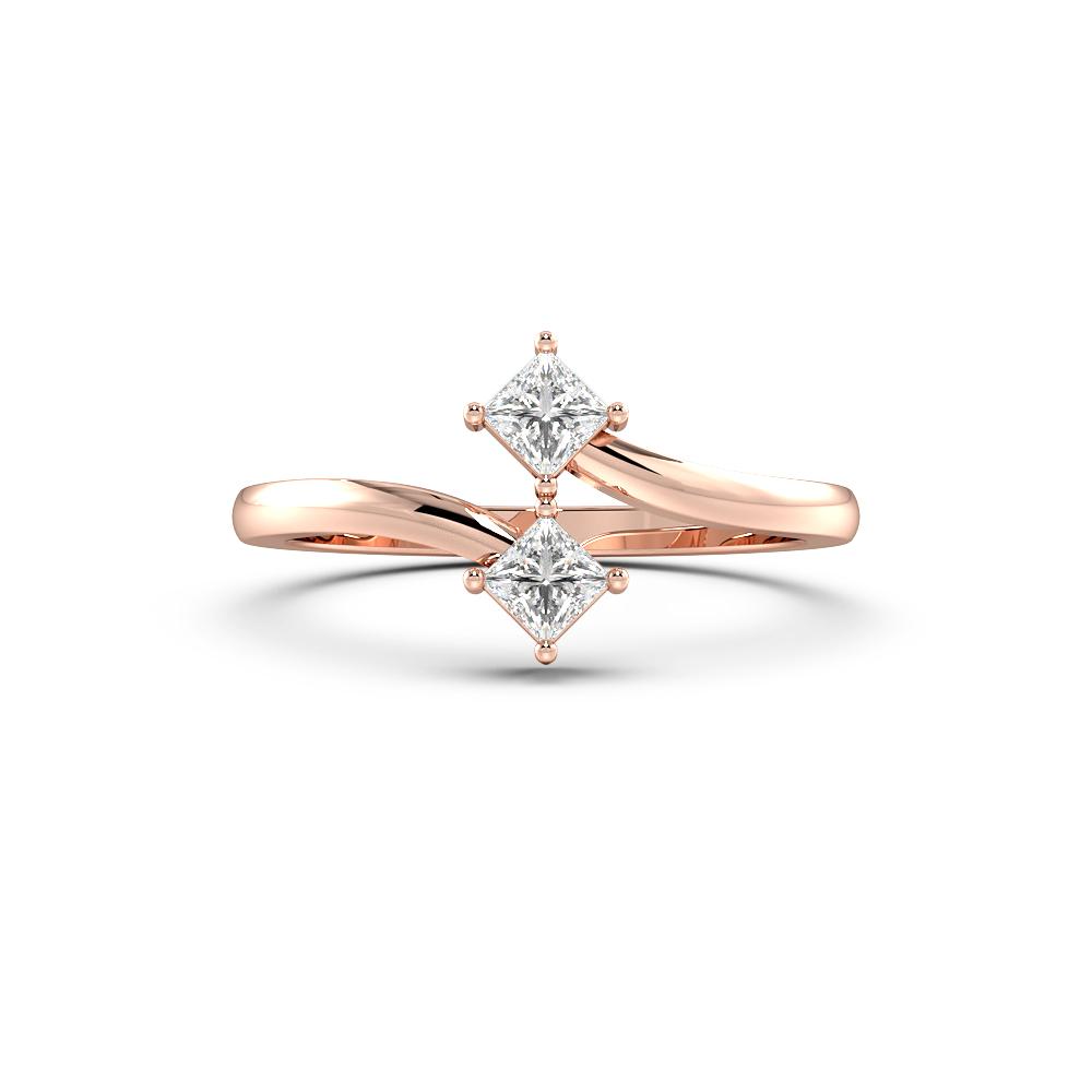 Two Princess Diamond Minimalist Designer Diamond Ring