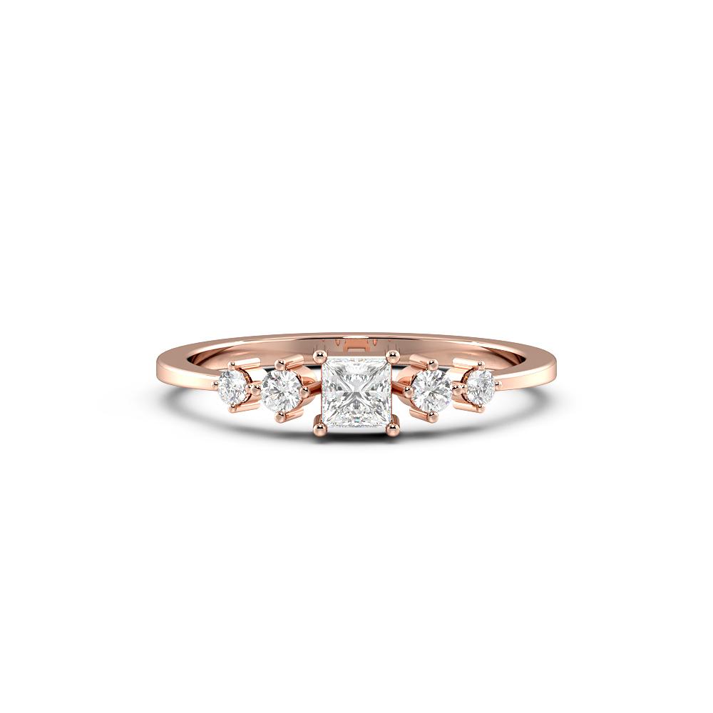 Unusual Minimalist Side Stone Diamond Engagement Ring
