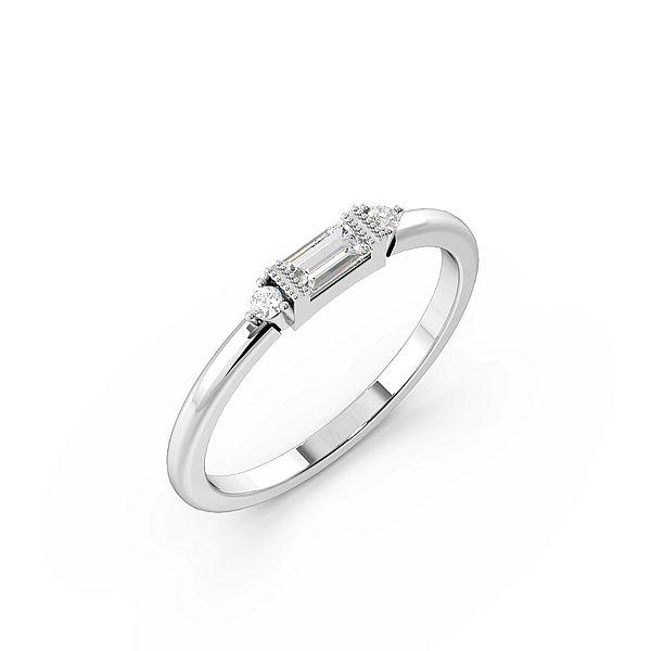 Baguette And Round Minimalist Miligrain Designer Diamond Ring