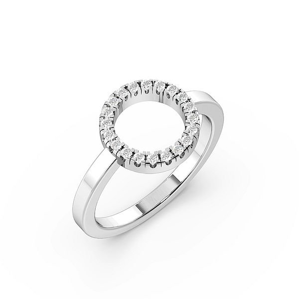 Round Pave Setting Open Circle Designer Diamond Ring
