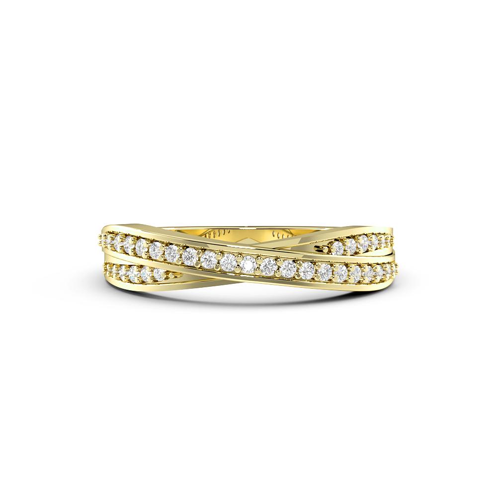 Round Pave Setting Cross Over Designer Diamond Ring