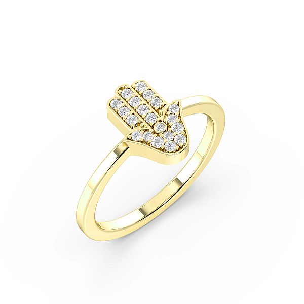 Round Pave Setting Hamsa Designer Diamond Ring