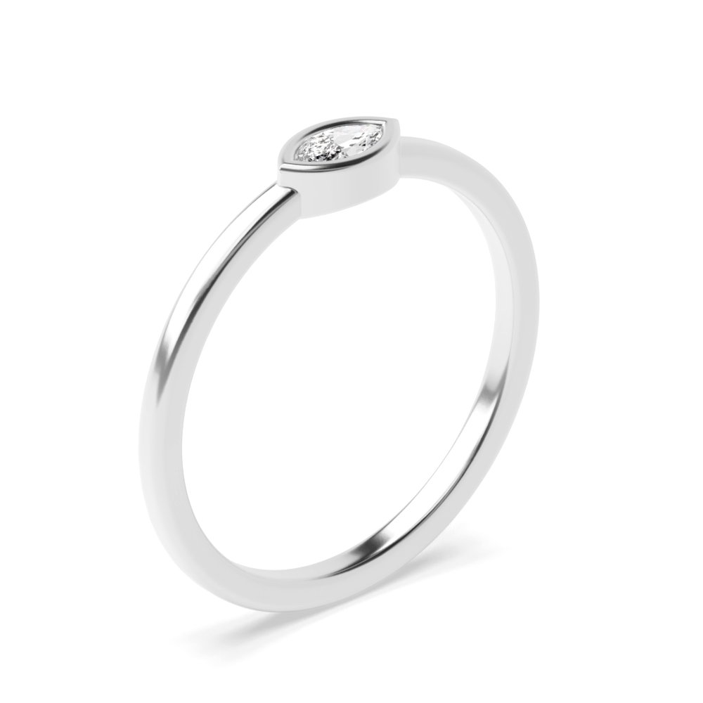 Marquise Bezel Setting Minimalist Solitaire Ring Diamond Ring