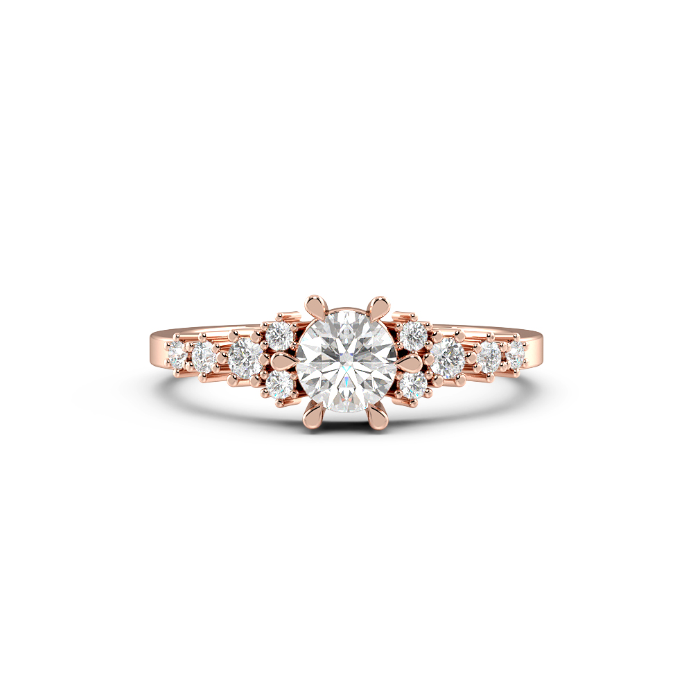 6 Prongs Designer Side Stone Diamond Engagement Rings