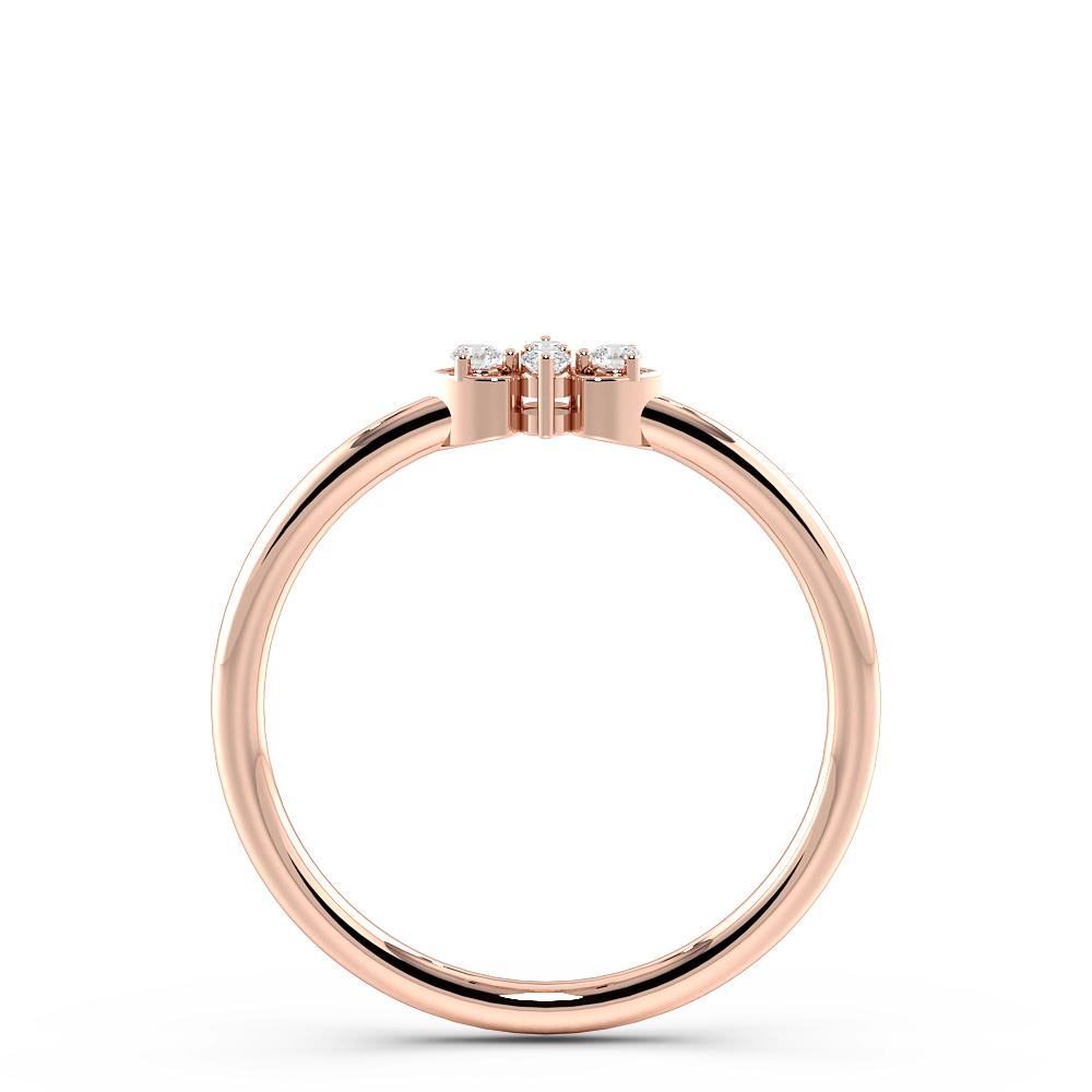 Pave Setting Two Heart Minimalist Designer Diamond Ring