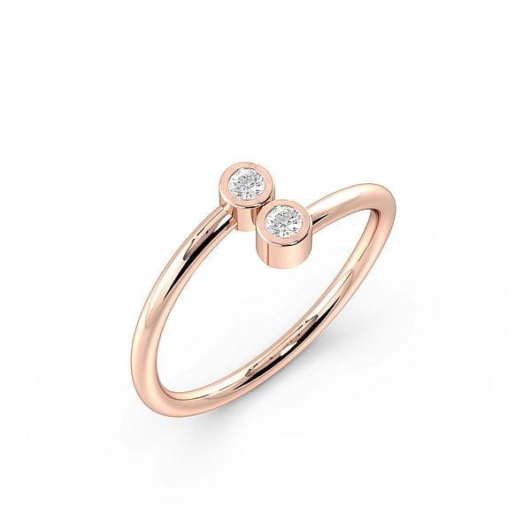 Two Hugging Diamond Minimalist Designer Diamond Ring