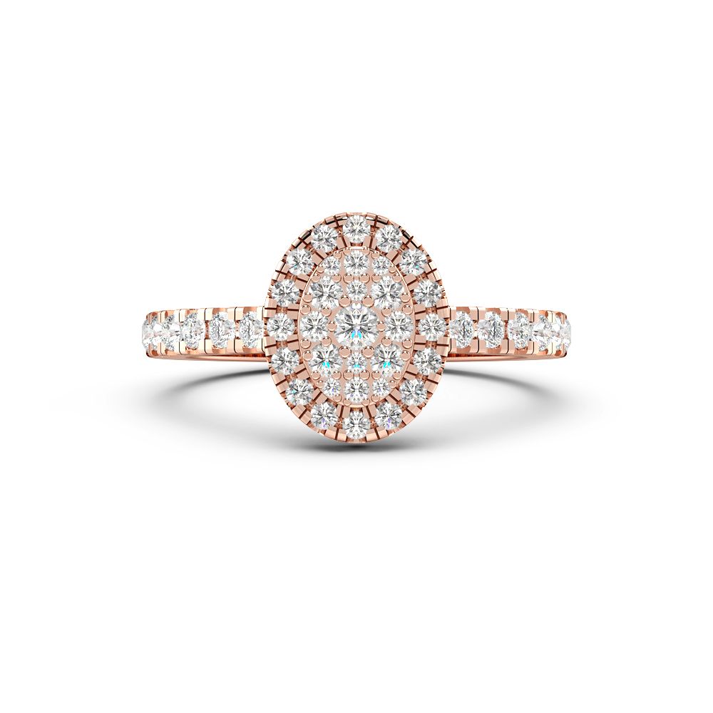 Round Pave Setting Oval Cluster Halo Diamond Engagement Rings
