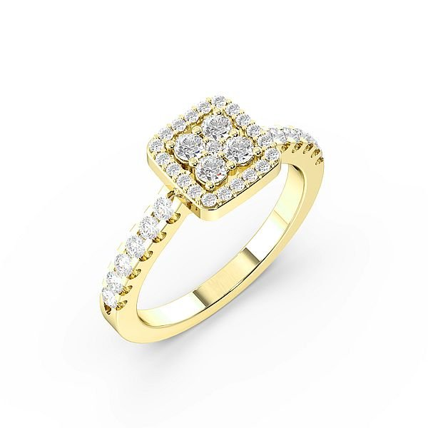 Round Pave Setting Square Halo Diamond Engagement Rings