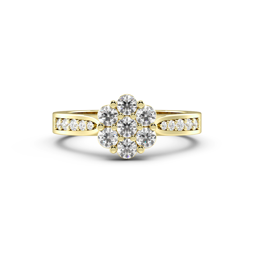 Pave Setting Classic Cluster Side Stone Diamond Engagement Rings