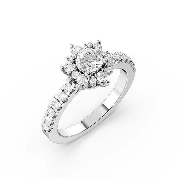 Round 4 Prong Designer Halo Diamond Engagement Rings