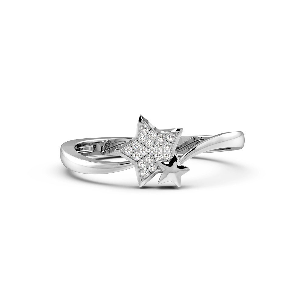 Round Pave Setting Two Star Designer Diamond Ring