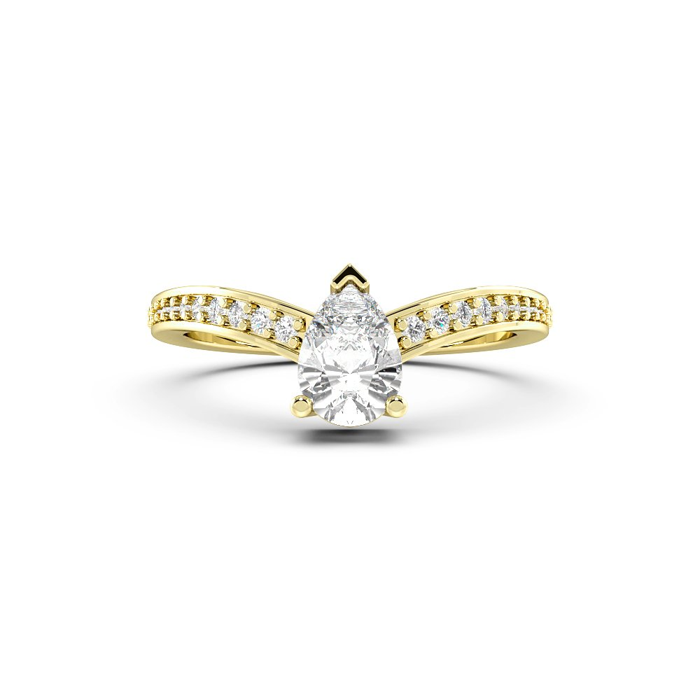 4 Prong Curved Pear Side Stone Diamond Engagement Rings
