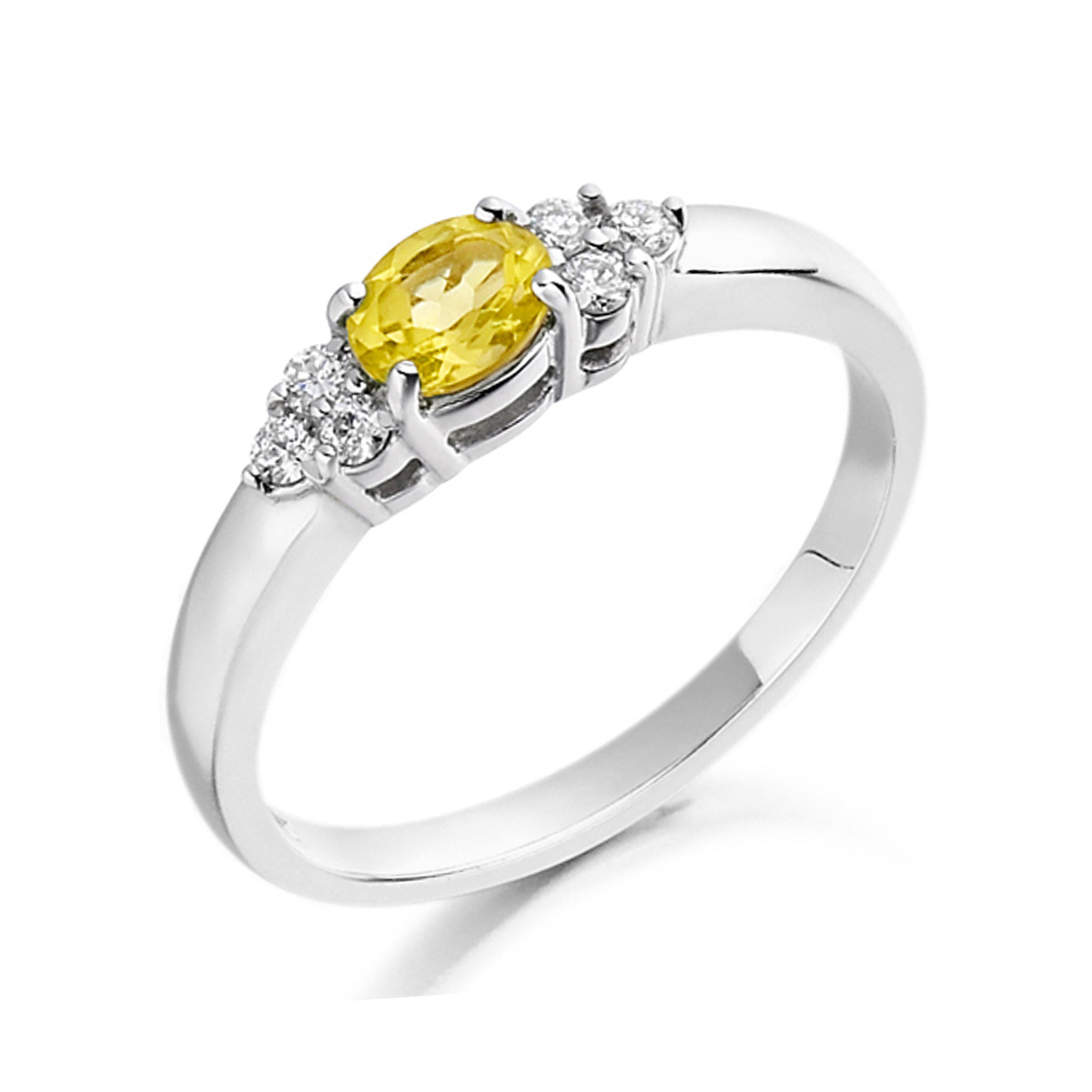Oval 4 Prong Rope Band Solitaire Diamond Engagement Rings