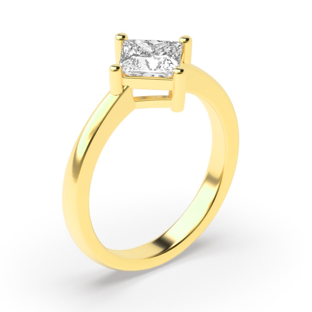 Princess 4 Prong N-E-W-S Solitaire Diamond Engagement Rings